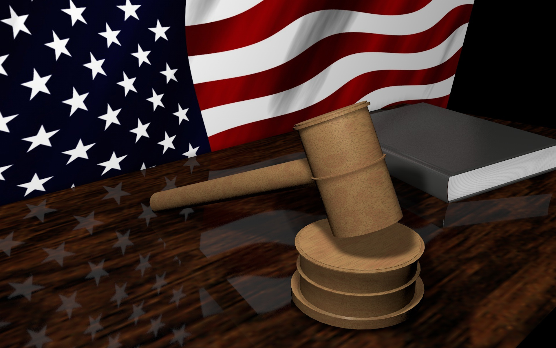 Gavel and American Flag. Represents Personal Injury Law.