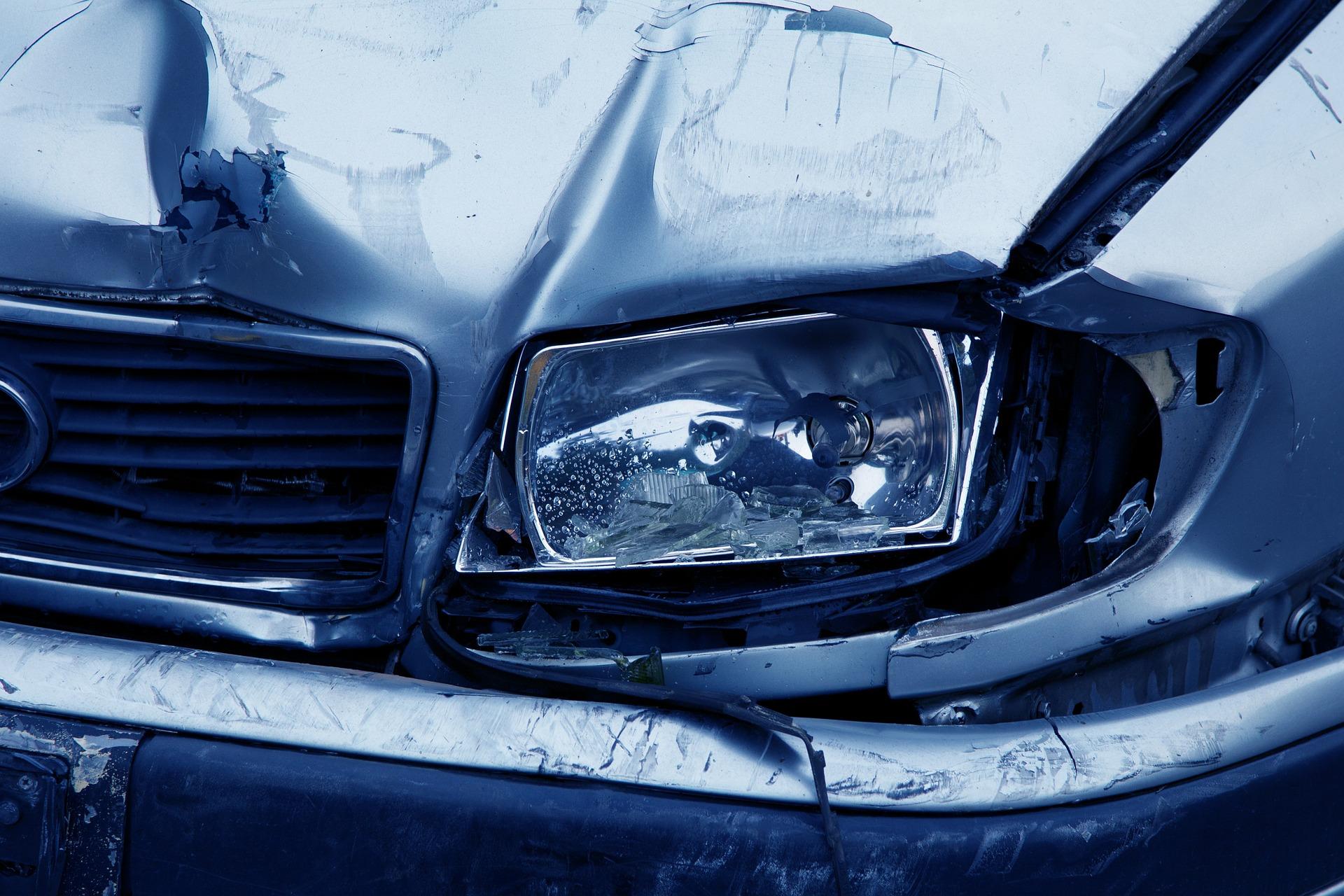 Front light of car after crash.
