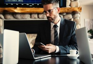 lawyer sitting at desk with laptop